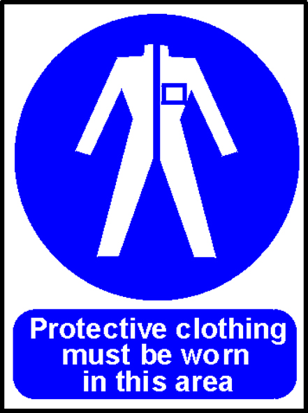 'Protective Clothing Must be Worn in This Area' - Safety Sign